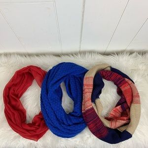 Infinity Scarves Set Of Three Red Blue Tan